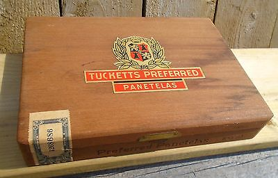 VINTAGE 1935s TUCKETTS PREFERRED PANETELAS CIGARS WOODEN DOVETAIL CIGAR BOX