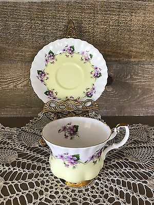 Vintage Royal Albert Bone China 4361 Purple Violets Tea Cup and Saucer