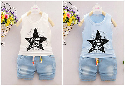 2pc Baby infant kids BOYS clothes summer outfits T shirt& denim short pants