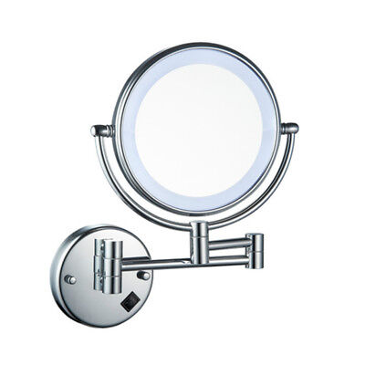 New 8 Led Lighted Wall Mount Makeup Mirror 5x Magnification Chrome