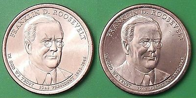 2014 US Franklin Roosevel Presidential Dollar Set One P&One D From Mint Roll