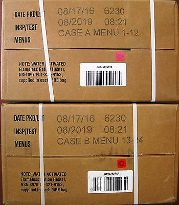 MRE  US rations, meal ready to eat menu  A and B two boxes