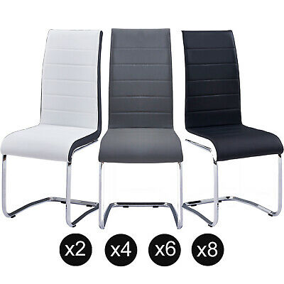 2/4/6/8 Dining Room Faux Leather Grey/White Dining Chairs High Back Rest Chrome