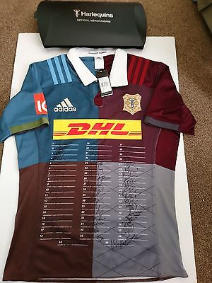 Harlequins signed official rugby shirt with entire 2016 team autograph rare