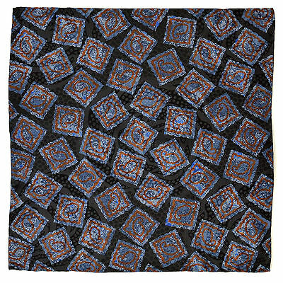 "New SANTOSTEFANO Black Blue Brown 12"" Silk Pocket Square Handkerchief NWT $150"