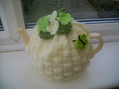 Hand Knitted Basket Weave Tea Cosy  Medium Teapot  Flowers  Butterfly