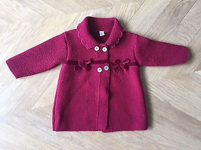 Knitted/Cochet Baby Coat & Bonnet 6M Months Red SPANISH TRADITIONAL HANDMADE