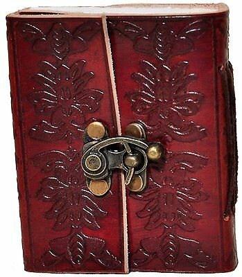 vintage genuine leather diary, pocket journal lock book, handmade notebook 2