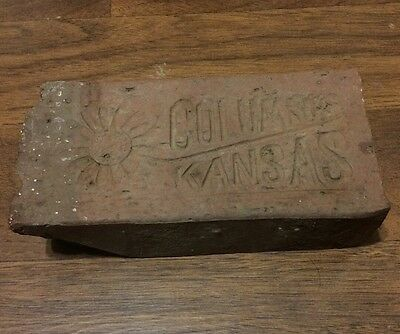 Rare antique street paver brick Columbus Kansas Sunflower sidewalk Cherokee Co
