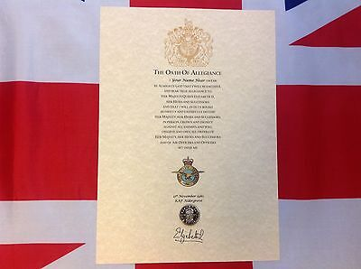 RAF Oath Of Allegiance With Printed Cap Badge And Sovereign's Shilling