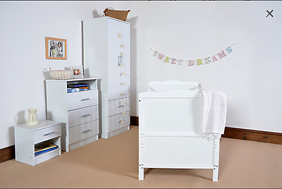 Baby Nursery Furniture Set 4pc CotBed Cupboard Draw White Unisex Bedroom Wardrob
