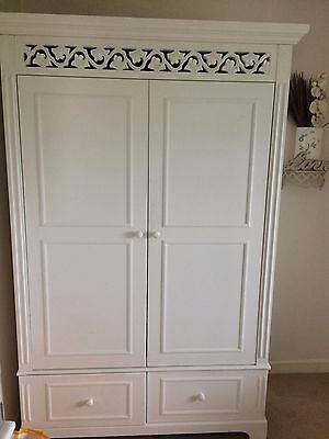 Pair French Style Louis XV Double Wardrobes in White with 2 Drawers each