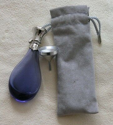Perfume Flask Purple Glass With Silver Metal Screw Top + Funnel & Drawstring Bag