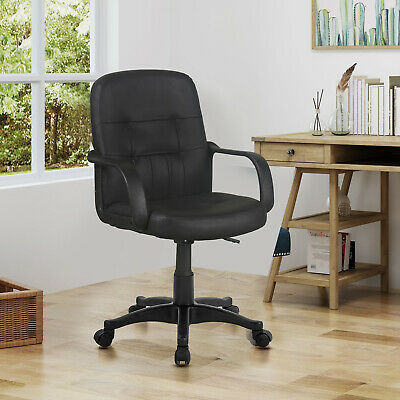 Black Mid Back Office Chair Faux Leather Swivel Executive Desk/Office Chairs New