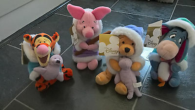 "Disney Store 8"" Beanie Pooh , Tigger , Piglet , Eeyore - tagged"
