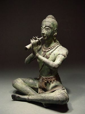 BRONZE SCULPTURE of PRINCE PHRA APHAI MANI with FLUTE. THAI FOLKLORE ART. 1900's