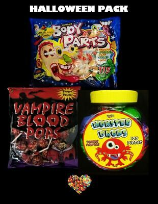 Halloween Lollies Pack Inc Monster Drops Head Bangers Vampire Pops Gluten Free