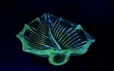 Art Deco Depression Uranium Glass Nappy Bowl Set Leaf Pattern  c1930's