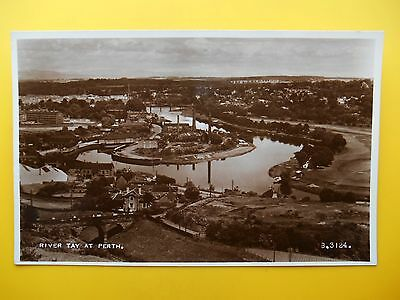 River Tay from Edinburgh Road PERTH Perthshire 1952 Factory Wharf Canal Interest
