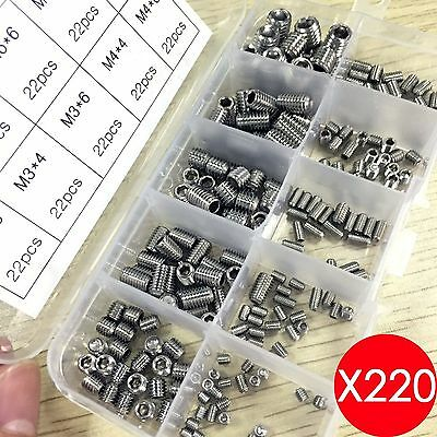 220PCS Allen Head Socket Hex Grub Screw Assortment Cup Point Set Stainless Steel