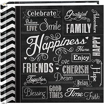 200-Pocket Chalkboard Printed Cover Happiness Theme Photo Album 4 X 6 Inch
