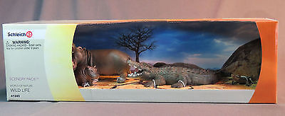 Schleich World of Nature River Animals 41343 Hippo & Crocodile + Babies - New #2