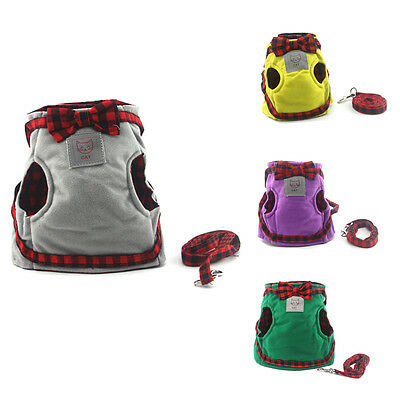 Cat Harnesses Set British Style Jacket+Leash Dog Adjustable Bowtie Vest Pet Lead