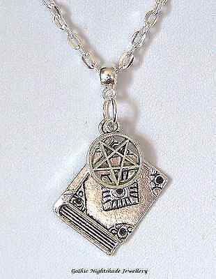 Book of Shadows Pentagram Silver Plated Necklace Gothic Pagan Wicca
