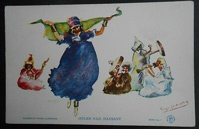 Old Postcard. Artist. Belly dancer. Ouled Nail Dansant. musicians. Algeria