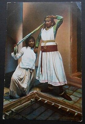 Postcard. 2 Belly dancers scarf. Danseuse Mauresques. Morocco. LL Scenes & Types
