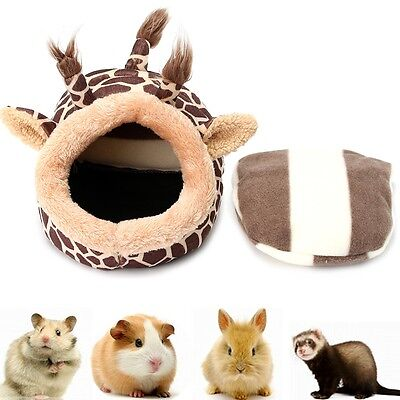Giraffe Shaped Small Animal Rat Hedgehog Squirrel House Bed Nest Cage W/ Pad UK