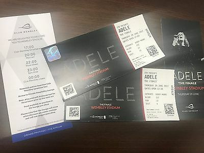 2 x ADELE VIP Tickets Thurs 29th June 2017 - VIP Drinks Package AMAZING SEATS