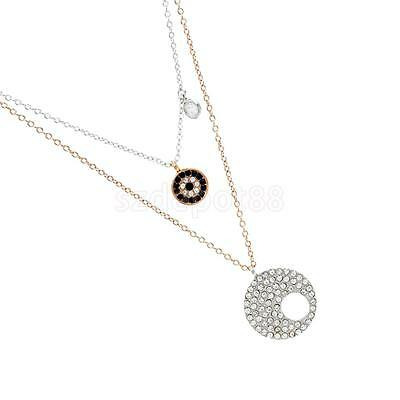 Pair of Black Evil Eye Silver&Gold Plated Kabbalah Necklace Good Luck Charm