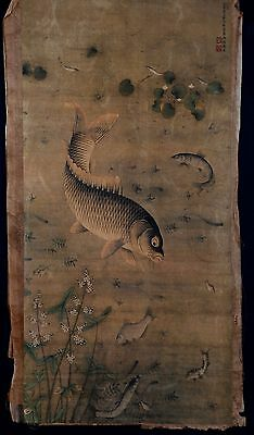 Vintage Long Old Paper Chinese Hand Painting Fishes MiaoFu Marks KK012
