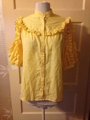 ORIGINAL VINTAGE 80's Yellow Frilled Blouse Shirt Top - size 38/10 Retro