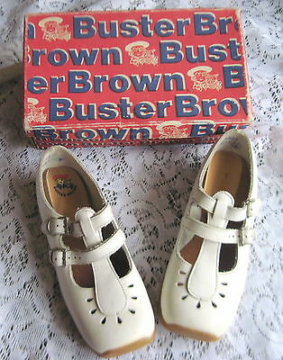 Vintage Girls Buster Brown Shoes w/Box Double Strap Mary Janes~11 1/2~NOS