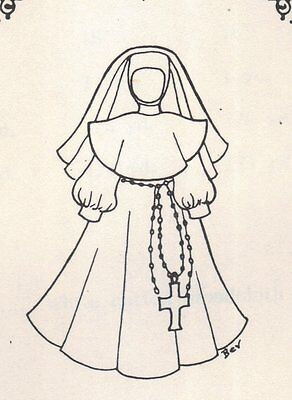 "18""  Period DOLL Nun Costume DRESS PATTERN Victorian German French"