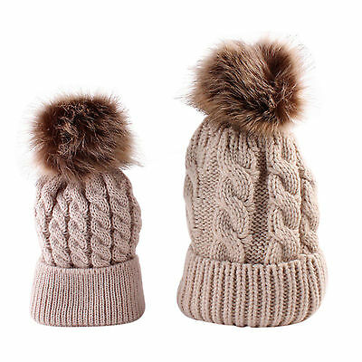 Matching Mum & Baby Beanie Hat Beige with Light Brown Pom Poms Winter Warm Cosy