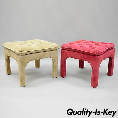 Pair of Vtg Hollywood Regency Parson Stools Upholstered Bench Ottoman Pink Beige