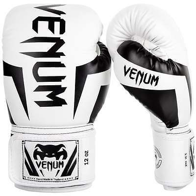 Venum Elite Muay Thai Boxing Gloves Sparring MMA Kickboxing White Black