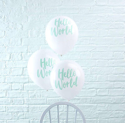 HELLO WORLD BABY SHOWER BALLOONS x 10 Gender Reveal Mint White Baby Shower Party