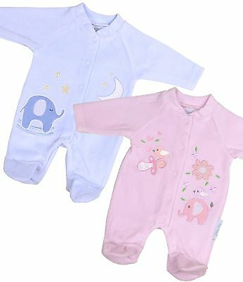 BabyPrem Premature Tiny Small Baby Boys Girls Clothes Velour Sleepsuit 3-8lb