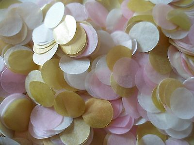 Gold Baby Pink & Ivory Circles Wedding Confetti Throwing Tissue Decoration