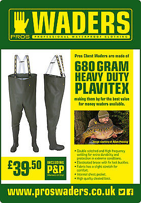 PROS WADERS 680g HEAVY DUTY CHEST WADERS FISHING GREEN LIKE LEADING BRANDS