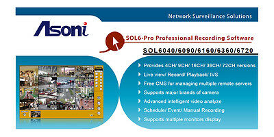 NIB - Asoni SOL6040-PRO Professional 4 Channel Video Management Software - 63538