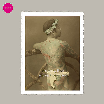 Almost Naked Japanese Man W/ Tattoos Gay Interest Male Nude Vintage Photo