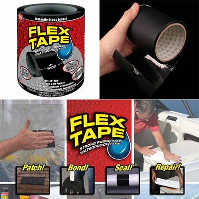 Strong WaterProof Flex Tape Black White 4'x 5' Rubberized Seal Stop Leaks Tape