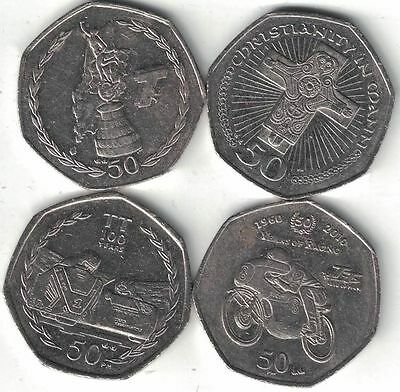 Isle of Man Collection of 4 Special 50 Pence 2001-2010 All Listed & Different