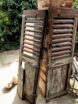 Amazing  WOODEN Vintage SHUTTERS FRENCH LOUVER WINDOW