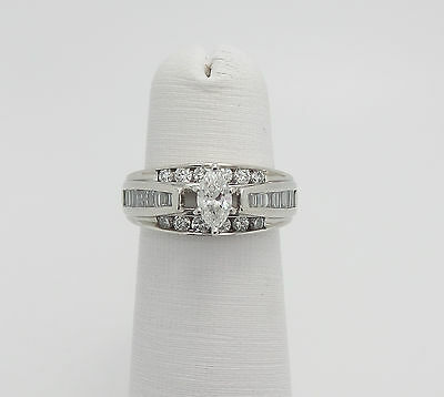 Zales 1CT Marquise Cut Diamond Engagement Wedding Ring 14K White Gold